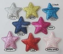 PANNOV 25mm glitter star patches 120pcs padded felt hairclip appliques multicolors DIY craft scrapbooking