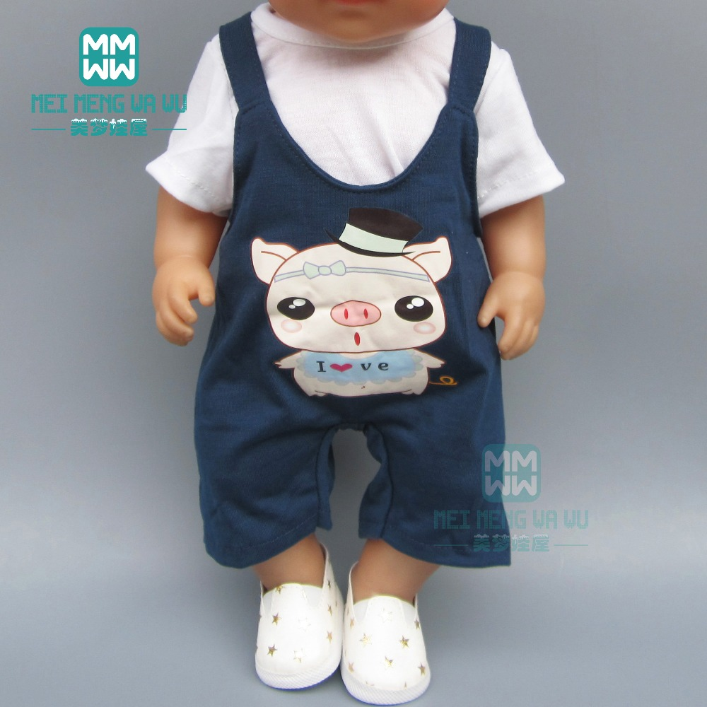 Dolls Clothes For 43cm New Born Dolls Male Baby Clothes Cartoon Casual Strap Set + Hat