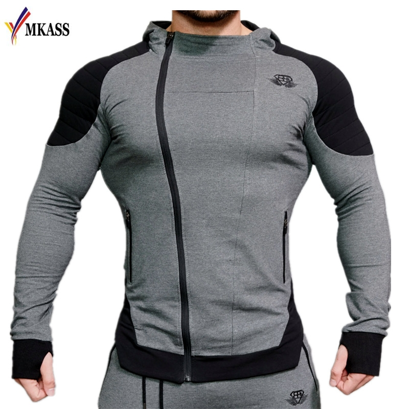 2018 Fashion Cotton Hoodies Men Fitness Hip Hop Mens Brand Solid Hooded Zipper Hoodie Cardigan Sweatshirt Slim Fit Men Hoody