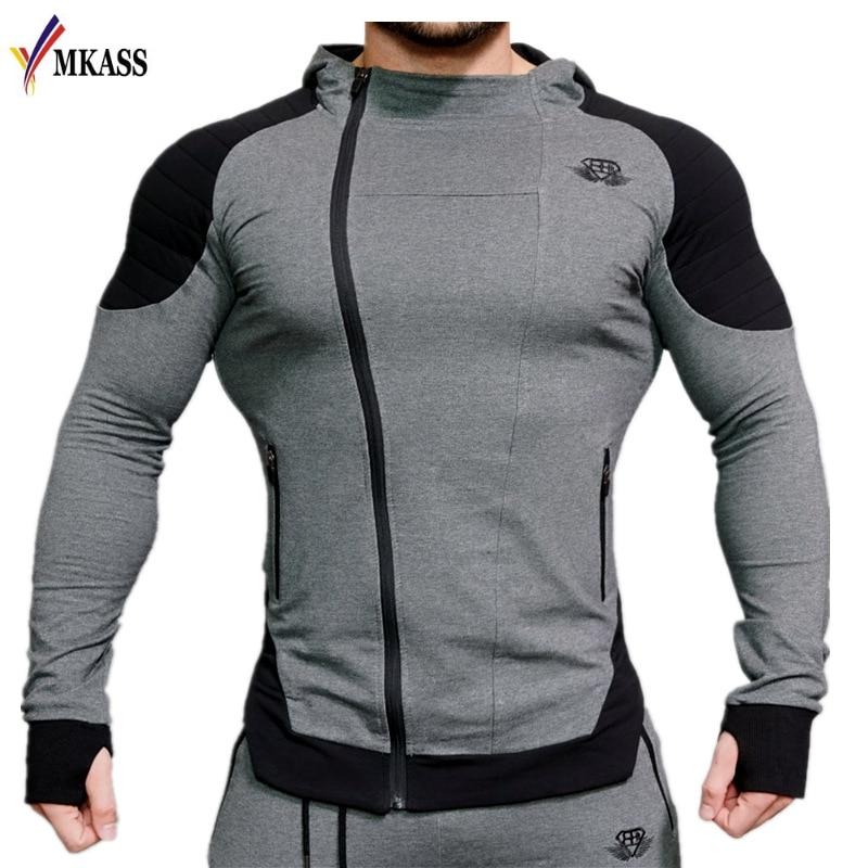 2018 Fashion Cotton Hoodies Men Fitness Hip Hop Mens Brand Solid Hooded Zipper Hoodie Cardigan Sweatshirt Slim Fit Men Hoody