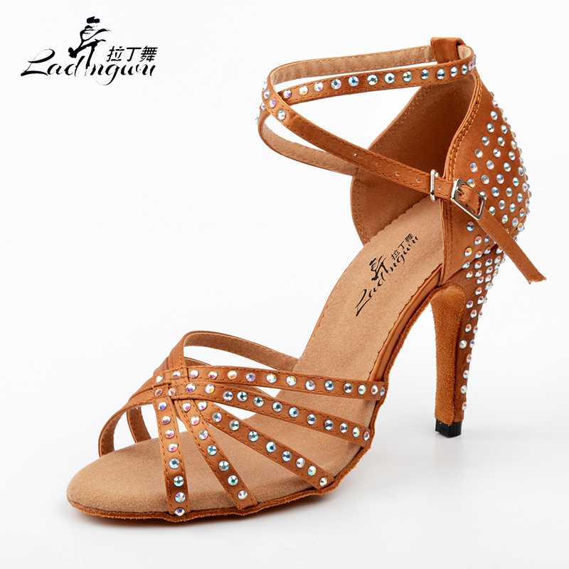 2018 New Brand Brown Black Satin Latin dancing shoes Women's Rhinestone companionship shoes Salsa Party Ballroom dancing shoes
