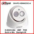 Starlight Dahua Ip-камера IPC-HDW4233C-A H.265 Встроенный Микрофон 2-МЕГАПИКСЕЛЬНАЯ ИК 50 м Камеры IP Обеспеченностью Сети Цифровой Купольная Камера POE Onvif