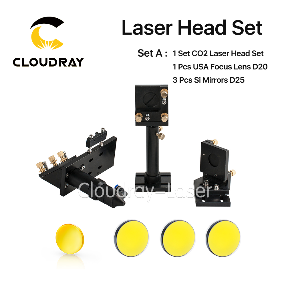CO2 Laser Head Set Kit + 1 Pcs Dia.20mm ZnSe Focus Lens + 3 Pcs Dia.25m Mo / Si Mirror 25mm for Laser Engraving Cutting Machine laser lens dia 20mm fl100mm 4inch mirror dia 25mm with gas nozzle co2 laser cutting machine components laser head