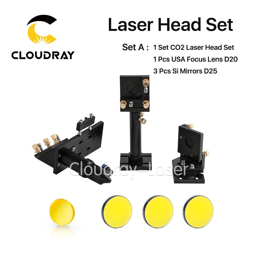 CO2 Laser Head Set Kit + 1 Pcs Dia.20mm ZnSe Focus Lens + 3 Pcs Dia.25m Mo / Si Mirror 25mm for Laser Engraving Cutting Machine жирафики