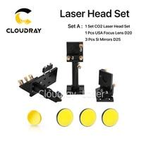 CO2 Laser Head Set Kit + 1 Pcs Dia.20mm ZnSe Focus Lens + 3 Pcs Dia.25m Mo / Si Mirror 25mm for Laser Engraving Cutting Machine