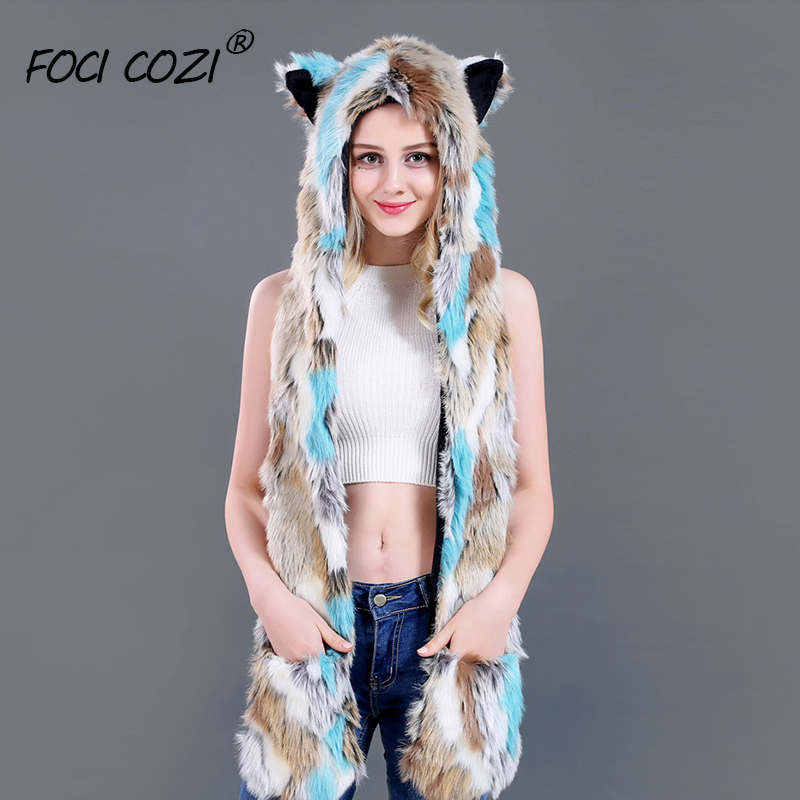 Tiffany Blue Hat And Scarf For Women Mitten Winter Hat Ear Cap Warm Animal Faux Fur Hand Pocket 3in1 Hood Hat Winter Accessories