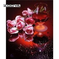 ZOOYA Elmas Nakış Çiçekler Gül Şarap Elmas Boyama Tam Desen Rhinestones Elmas Mozaik İğne DIY Kitleri BB1579