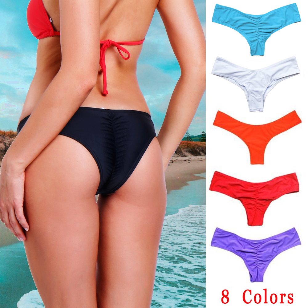 0a02e28970b Detail Feedback Questions about Sexy Women Brazilian Bikini Swimwear  Bathing Beach Thong Ruched Scrunch Bottom Plus Size Beachwear Tie Side  Swimwear ...