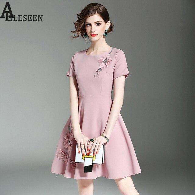 4f4ebc0ca96 Элегантные женские платья 2018 Летняя мода новый хороших короткий рукав  Белый Розовый Черный Аппликации бриллиантами высокое
