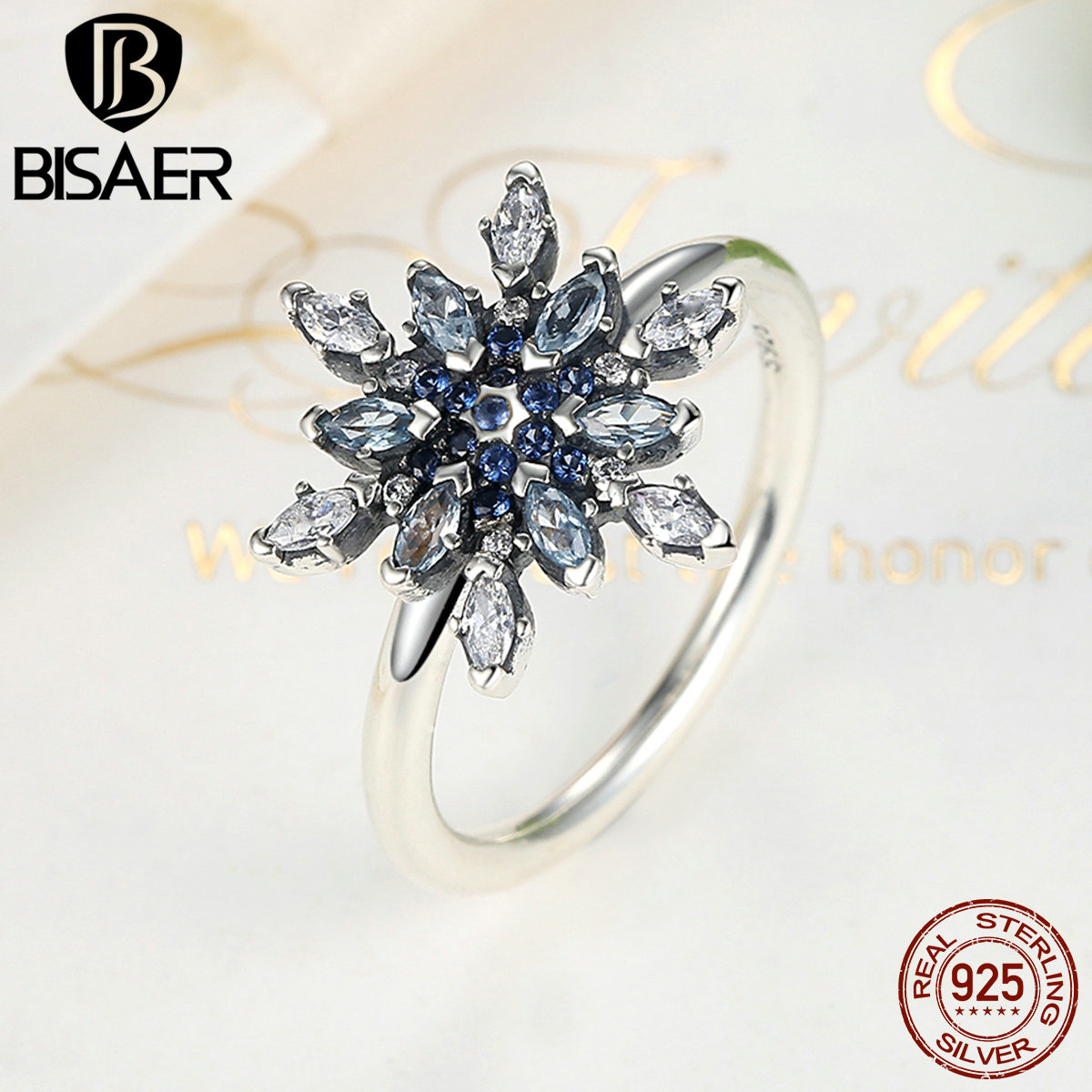 Blue Crystals Crystalized Snowflake Wedding Ring 925 Sterling Silver Rings for Women Female Ring Engagement Ring Jewelry