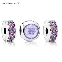 Purple CZ Radiant & Stopper Clip Beads for Charm Jewelry Making Fashion Silver 925 Jewelry DIY Beads Set for Women Bracelets NEW