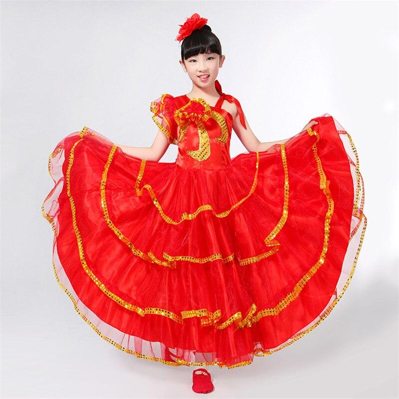 0d4c6e76c Niños Flamenco rojo Falda larga español señorita Flamenco bailarina vestido  de fantasía traje ...