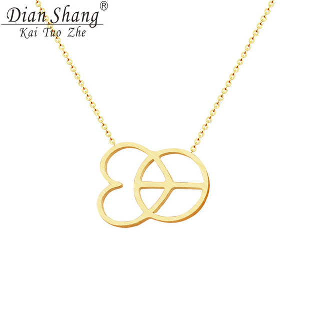 Dianshangkaituozhe Fashion Peace Symbols Heart Pendant Necklace