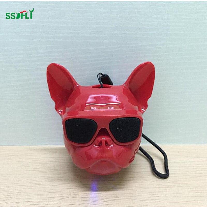 Ssdfly fashion Aerobull Dog Head Bluetooth 4.1 Lanyard Bulldog Bluetooth wireless speaker HIFI subwoofer support U disk TF card