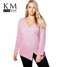Kissmilk Плюс Размер Мода Женская Одежда SolidV-Образным Вырезом Вязать Крест Передняя Пуловер Свободные Длинным Рукавом Розовый Свитер 3XL 4XL 5XL 6XL