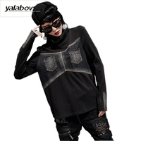 Yalabovso 2018 Spring Autumn TurtleNeck Warm Tees Loose Bottoming Shirts Punk Rave Beading Rivet T Shirts