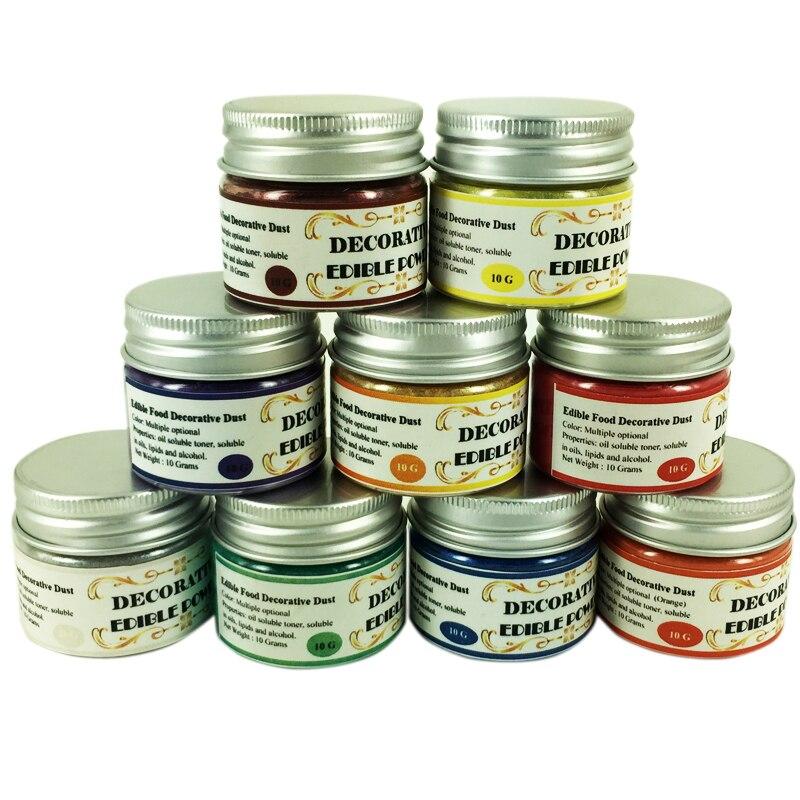 10 Colors 10 Grams per Color Edible Food Pigment Powder for decorating Chocolate Fondant Cake Arts