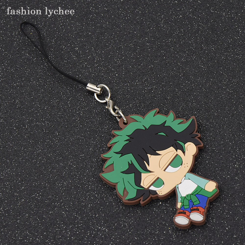 fashion lychee Anime My Hero Academia Rubber Keychain Women Men Pendant Key Ring Bag Charms Gift Accessories