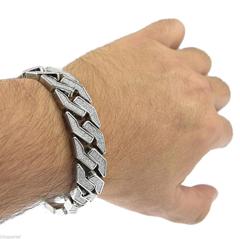 Sand-Blast-Bracelet-Cuban-Chain-Link-Hip-Hop-_57 (7)