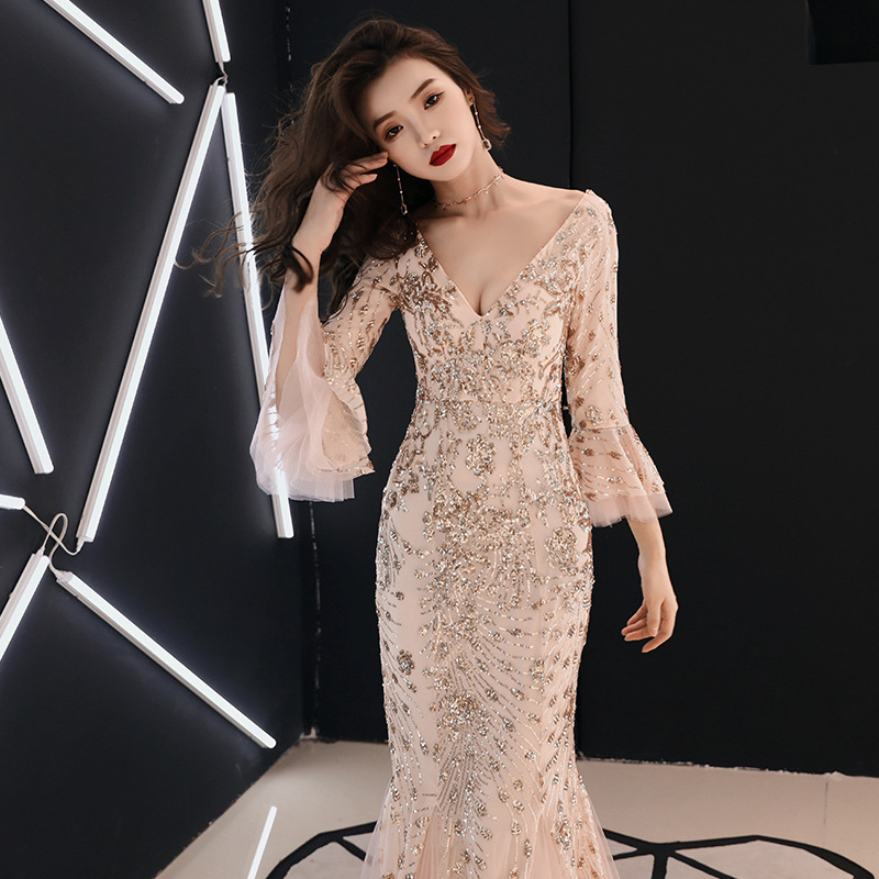 Champagne Evening Dress Gold Sequins Charming Formal Trumpet Party Gown V-neck Flare Sleeve Long Black Mermaid Prom Dresses E063