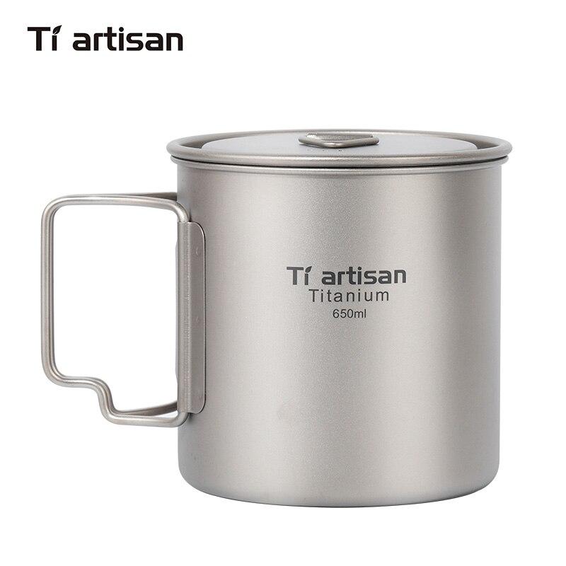 Tiartisan Outdoor Camping Pure Titanium Mug with Folded Handle Lightweight Portable Picnic Cookingware 650ml Pot Ta8312Ti