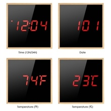 Bamboo Digital Alarm Clock Adjustable Brightness Voice Control Large Display Time Temperature USB/Battery Powered