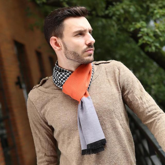 Retro Moda Padrão Quadriculado Clássico Homens de Negócios Escovado Lenços De Seda Macio E Confortável Modelos de Lenços de Inverno Quente do Homem