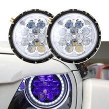 DC10-30V 60W 7inch round LED headlight dual sealed beam with white halo & blue atmosphere for offroad Wrangler TJ JK Land Rover dot sae e9 approved 7inch round headlight with halo ring for honda cb500 cb1300 hornet250