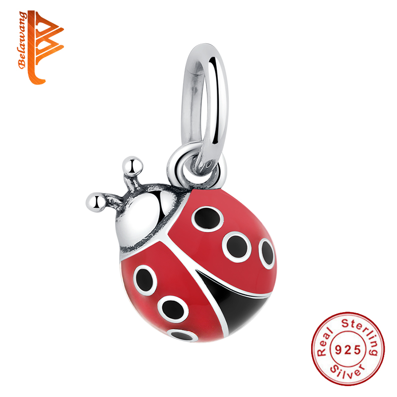 Lovely 925 Sterling Silver Cute Red Ladybug Charm Fit Pandora Charm Bracelet For Women Girls Fashion DIY Making Jewelry