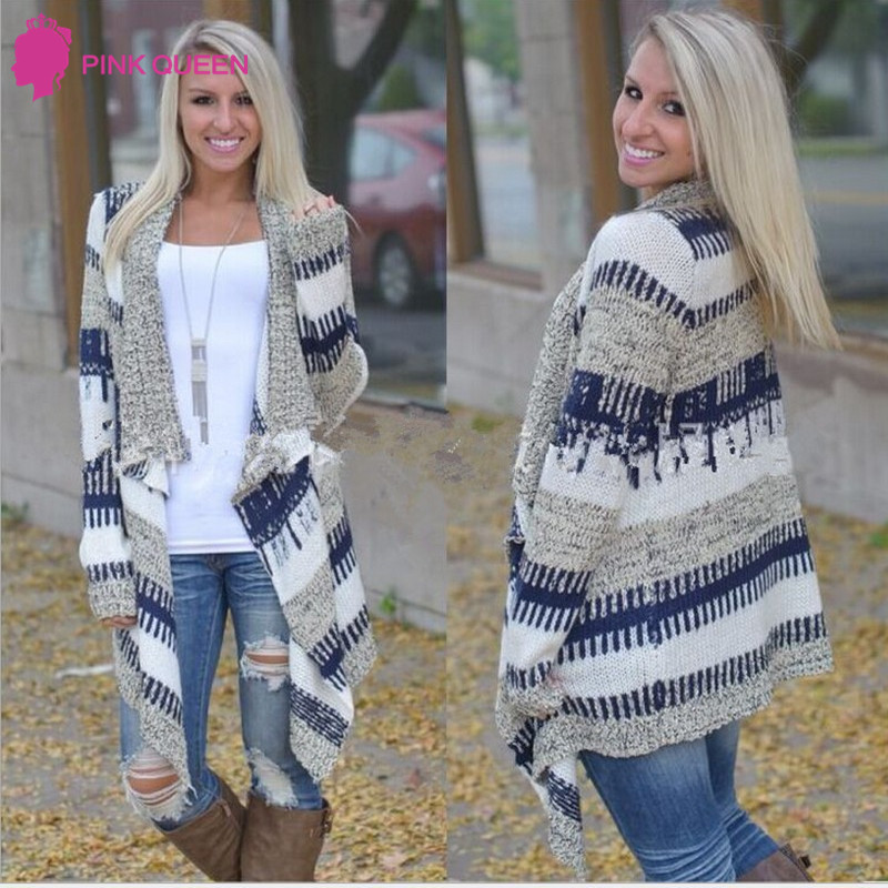 Pinkqueen Fashion Womens Cardigan Sweater Long Sleeve Cloak Capes Stitching  Striped Print Asymmetrical Blue Knitted Sweater-in Cardigans from Women s  ... aed9136ae