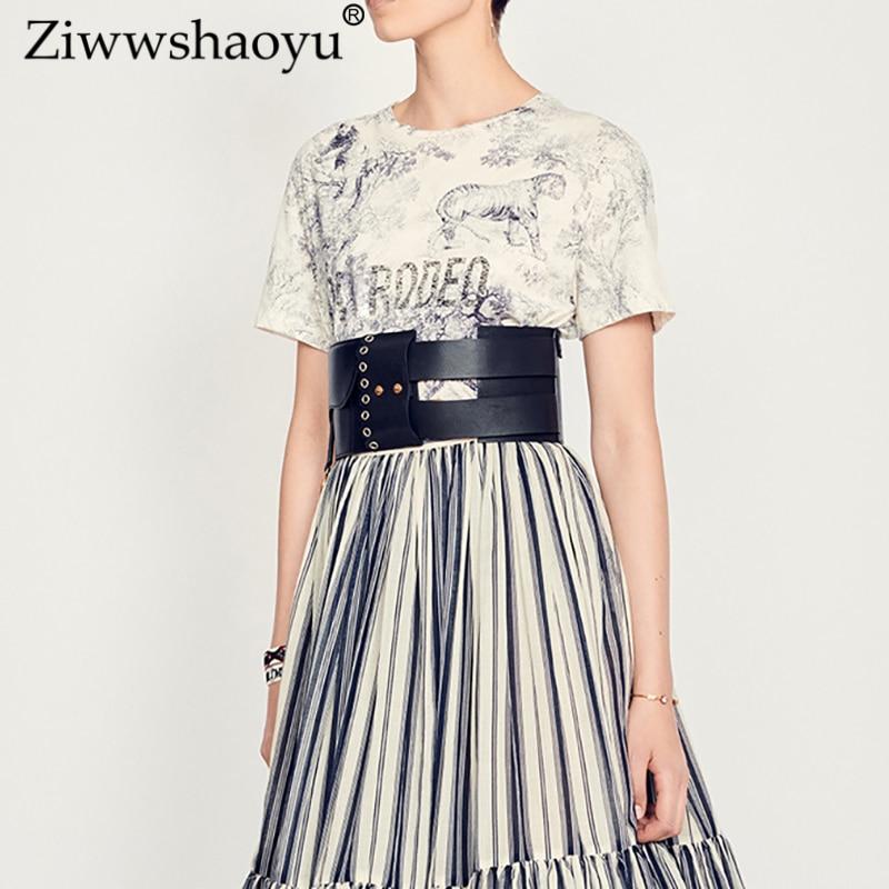 Ziwwshaoyu Coton T-shirt lettre Imprimer Casual O-cou T-shirt 2019 printemps et d'été nouvelles femmes