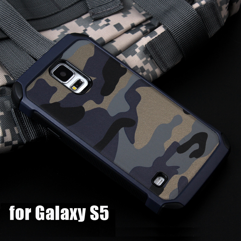 Galleria fotografica ITEUU S5 Army Camouflage Case for Samsung Galaxy S5 Cases Anti-knock Shockproof Silicone + PC Back Cover Shell for Samsung S5
