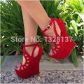 Brand Ladies Shoe Glitter Pump Suede Platforms Wedges Open Toe Sandals Sexy High Heels Shoes Woman sapatos femininos sandalias
