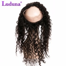 Luduna Brazilian Water Wave 360 Lace Frontal Closure With Baby Hair Natural Hairline 100% Non-remy Human Hair Weaving