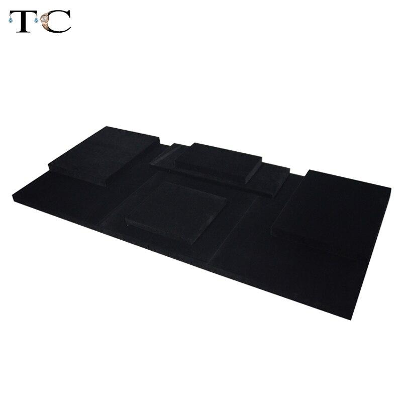 MDF Board Black Velvet Jewelry Diplay Stand Jewellery Window Showcase 110*50*2cm