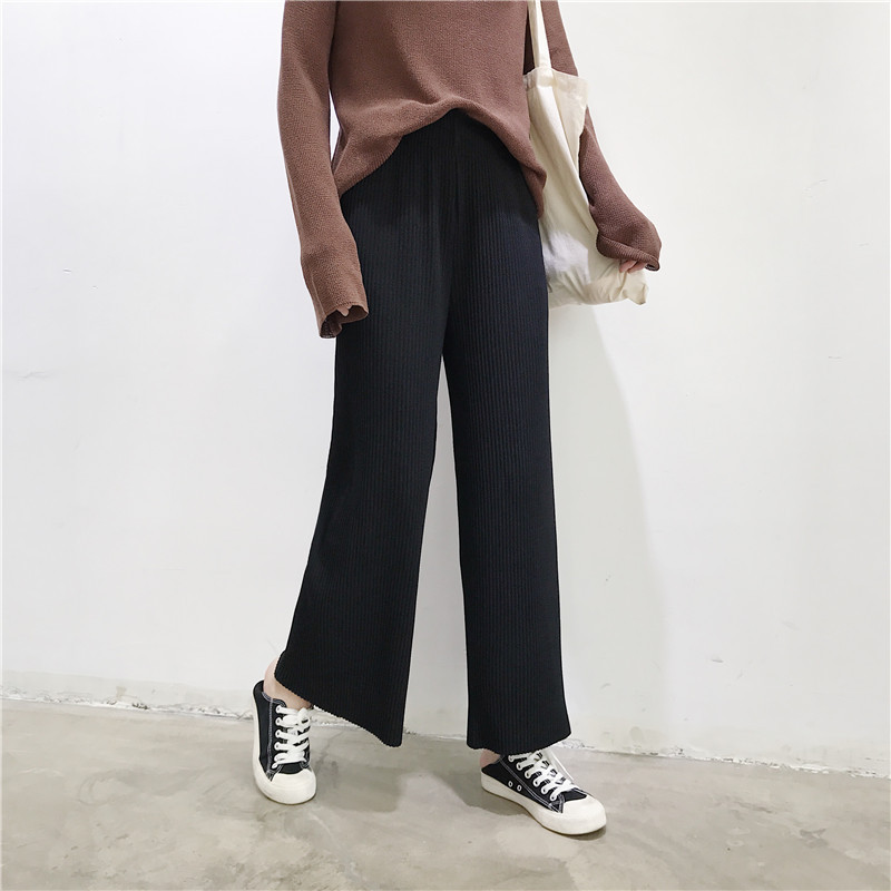 2019 Autumn High Waist   Pants   Pleated Cotton   Wide     Leg     Pants   Women Loose Casual Palazzo   Pants   Ladies Trousers pantalones mujer