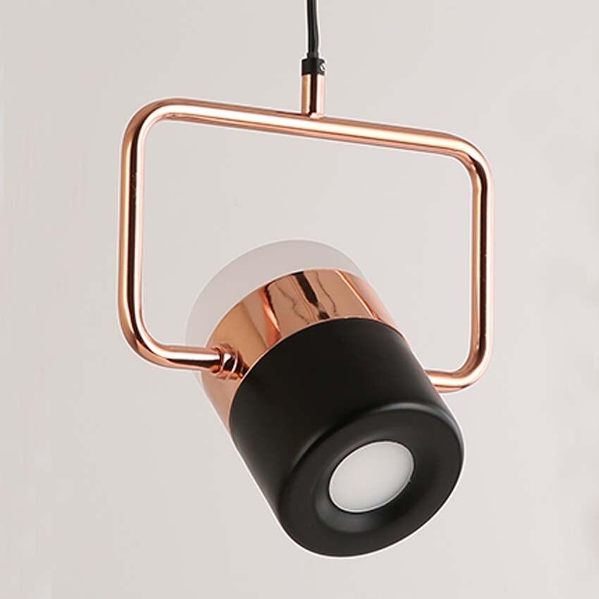 Nouveau pendentif LED postmoderne lumières plaqué or rose en fer forgé nordique simple suspension lampe salle à manger chambre lampe à main lumière - 2