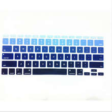 Gradual Blue Rainbow Silicone Laptop keyboard Skin Protector Cover film Guard for Apple Macbook Air 11