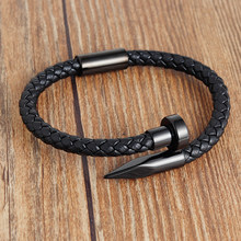 Punk Nail bracelet Leather Men Bracelets Black Silver Stainless Steel Magnetic Clasps Classic Wristbands Gift Male Jewelry(China)