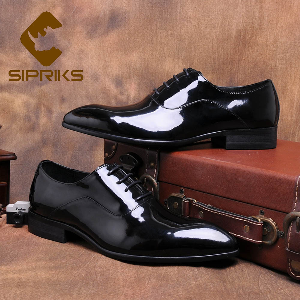Sipriks Genuine Leather Patent Black Dress Shoes Mens Shiny Oxfords Male Wedding Gents Suit Shoes Pointed Lace-Up Dancing Social