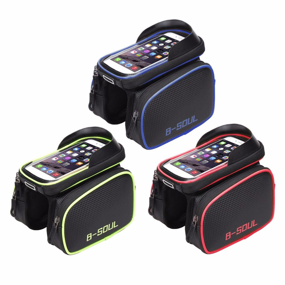B-SOUL 6.2 inch Bicycle Bag Front Tube Package Waterproof Mountain Bike Saddle Bag Mobile Phone Bag Riding Bike <font><b>Accessory</b></font>