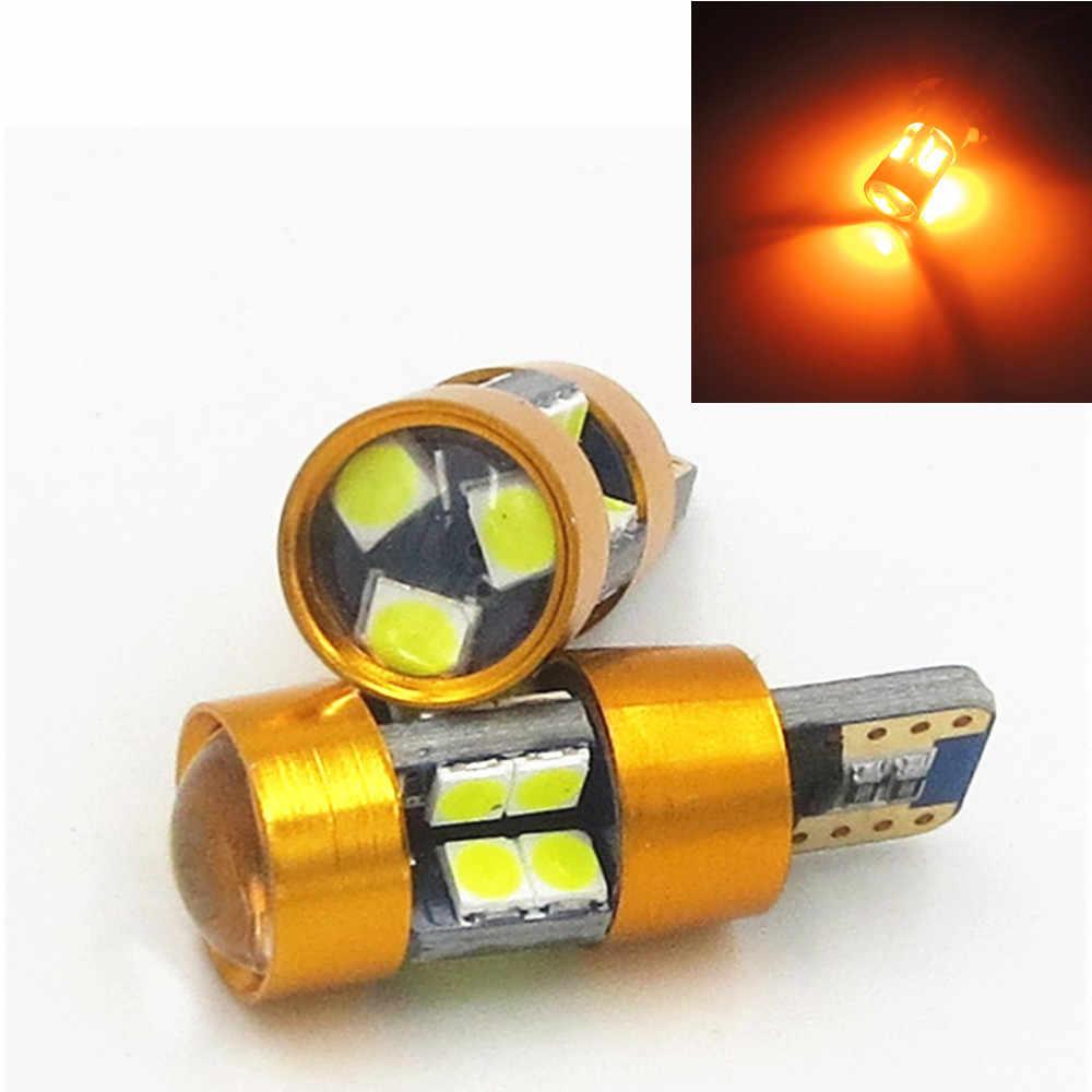 2 sztuk wysokiej jakości T10 LED 194 501 W5W 19 SMD 3030 Canbus bezawaryjna samochodowa Auto lampy klinowe lampa pokojowa żółty bursztyn DC12V