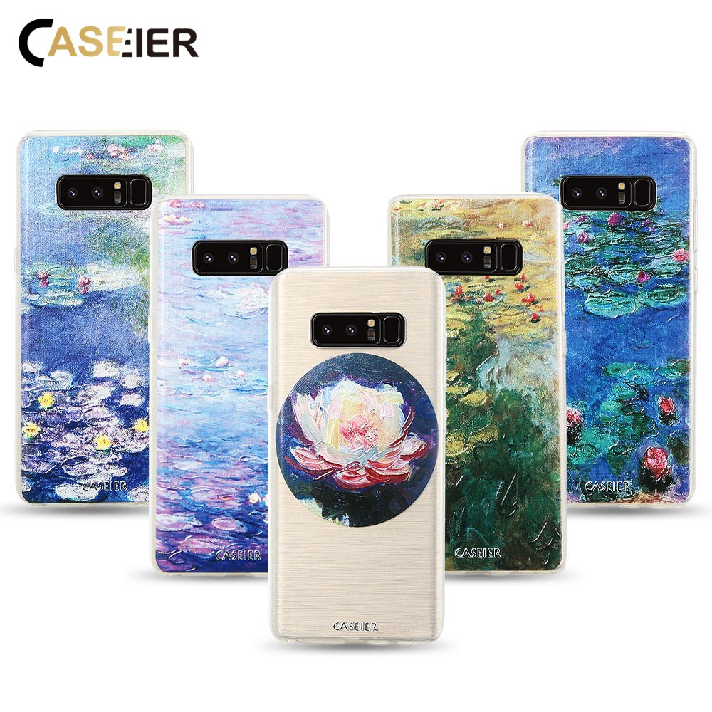 CASEIER Case For iPhone Water lilies Oil Painting 7 Plus 6 6s Soft Clear Cover Samsung S6 S7 Edge