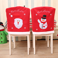 1PC Red Embroidery Flannel Fabric Chrismas Chair Cover Santa Claus Snowman Available Xmas Kitchen Dinner Chair