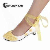 LOUCHUNLAN Woman Shoes Lace Belt Pearl Appliques Round Toe Wedding Shoes Spring/Autumn Multiple Colour Party Elegant High Heels
