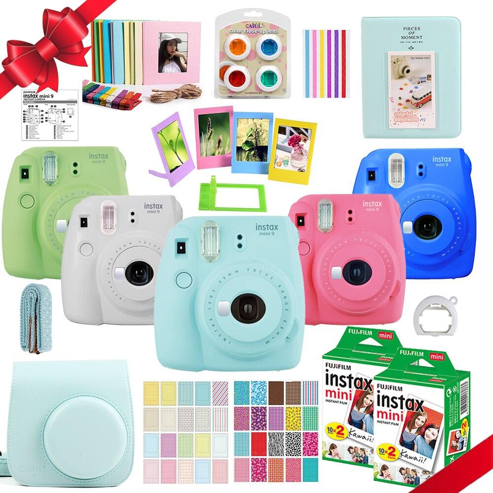 Fujifilm Instax Mini 9 Cámara + 40 disparos Mini 8 blanco instantáneo película fotográfica de papel + PU + bolsa álbum + cerca lente + regalo