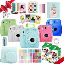 Fujifilm instax mini 9 câmera + 40 tiros mini 8 filme branco instantâneo foto papel + plutônio bolsa de transporte álbum + close-up lente + presente conjunto