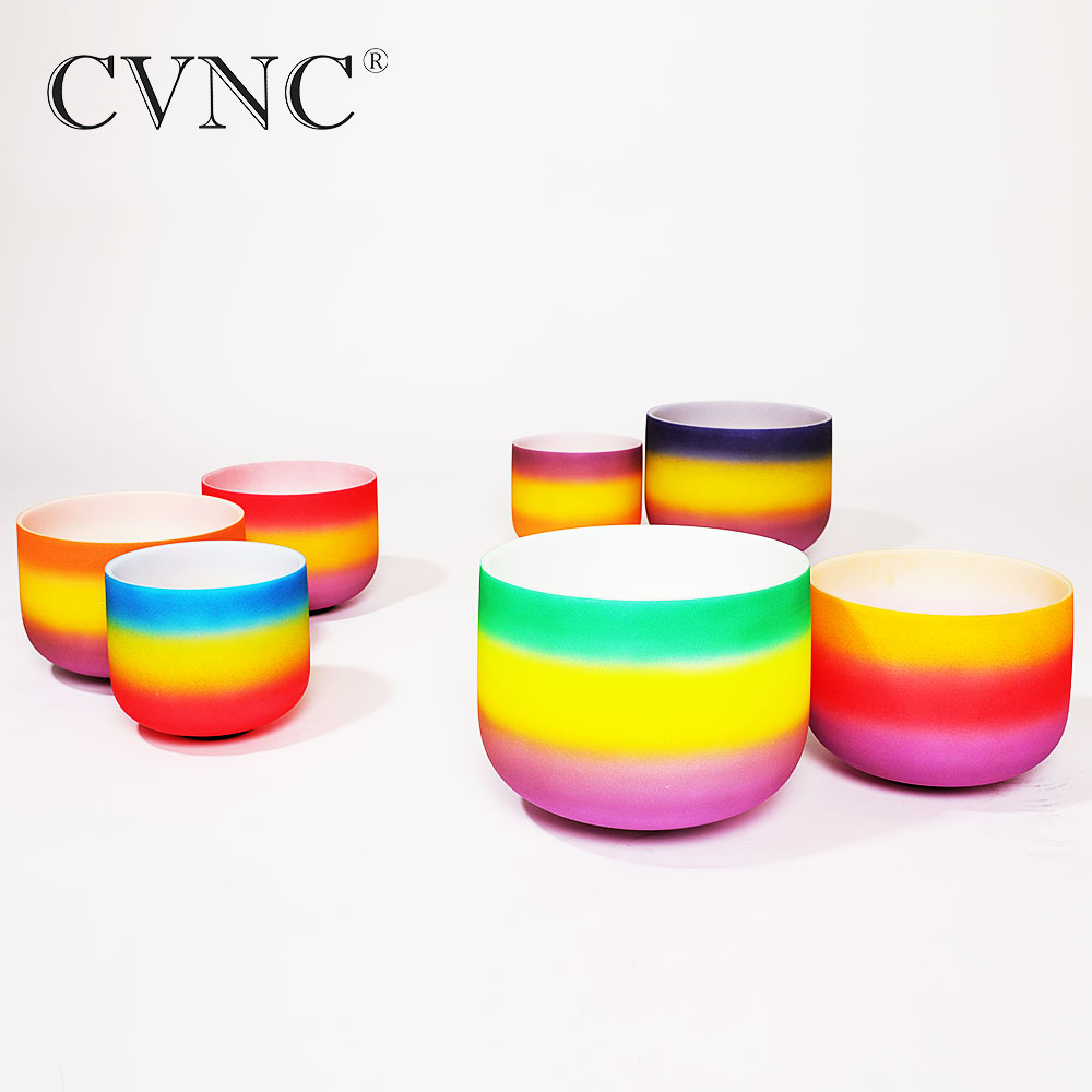 CVNC 6 quot 12 quot Chakra tuned set of 7pcs Rainbow Colored Frosted Quartz Crystal Singing Bowl in Bells amp Chimes from Sports amp Entertainment