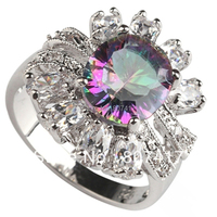 Rainbow Mystic Crystal And White Crystal Fashion Jewelry 925 Romantic Silver RING R763 Sz 6 7