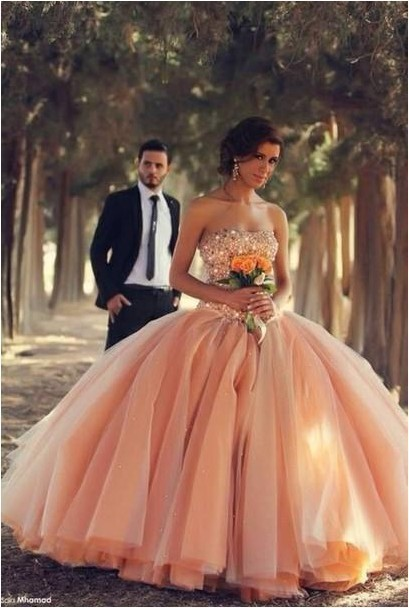 vestidos de fiesta 2015 Backless Ball Gown   Prom     Dress   Beaded   Prom     Dresses   Sheer Illusion Peach Tulle   prom     dresses   2015
